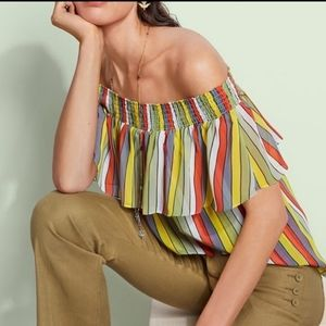 Cabi Carnival Top Off Shoulder Striped XS